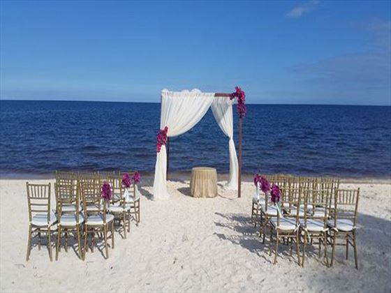Beach wedding setting at  Zoëtry Paraiso de la Bonita Riviera Maya