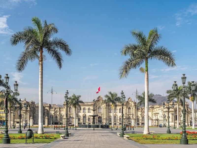 Government Palace of Peru at Plaza Mayor in Lima city