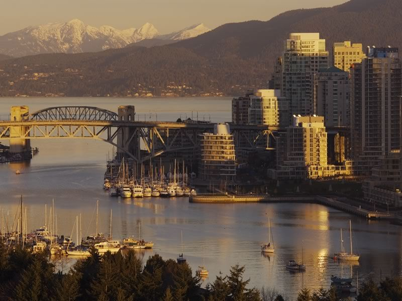 View of False Creek with the Burrard Bridge and downtown skyline, Vancouver