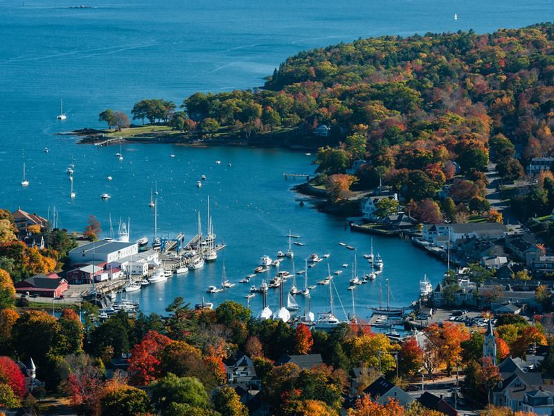 aerial view of camden maine harbor