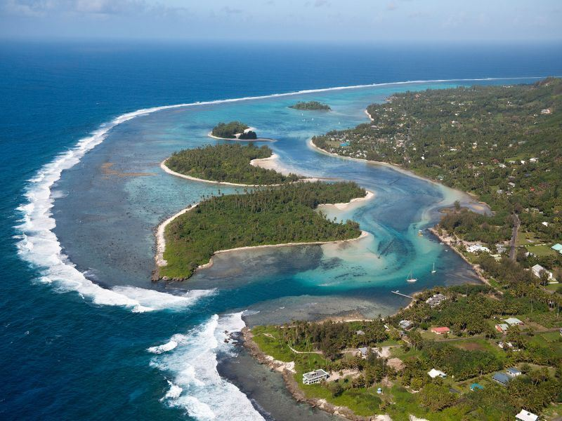 aerial view of muri beach cook islands