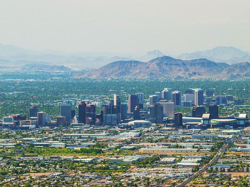 aerial view of phoenix arizona