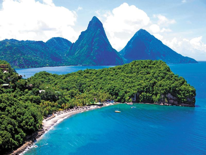 aerial view of the pitons at anse chastanet
