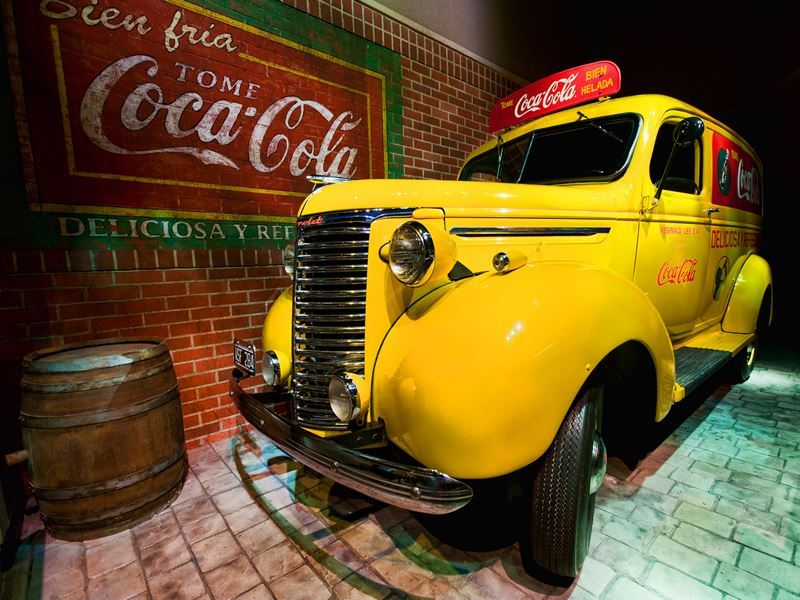 atlanta world of coca cola yellow truck