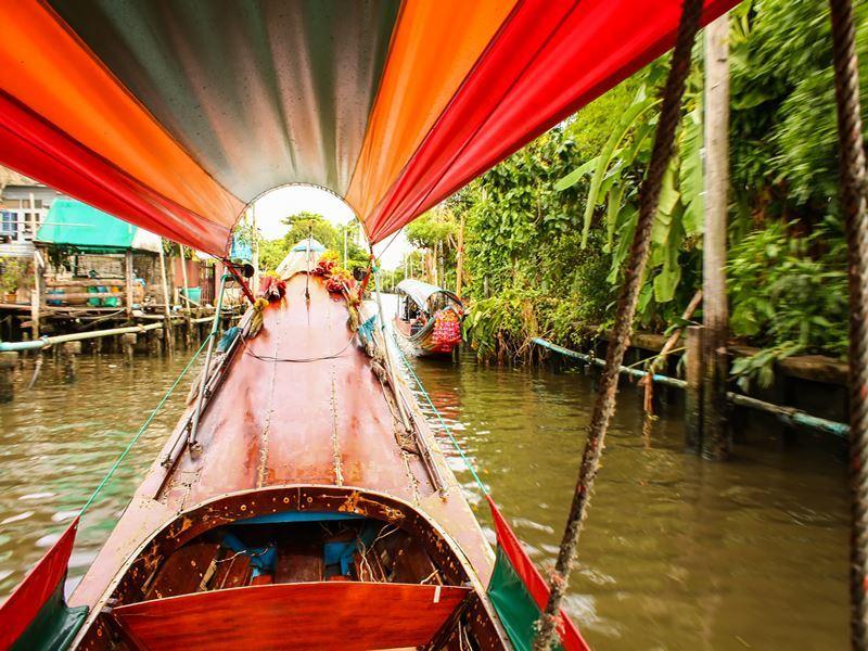 bangkok longtail boat along canal