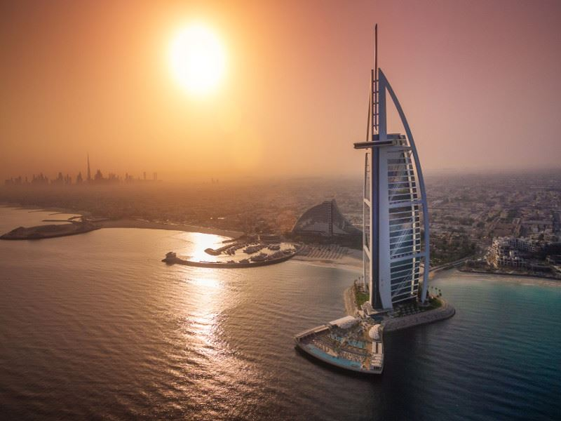 burj al arab jumeirah   the terrace   aerial   sunset   1