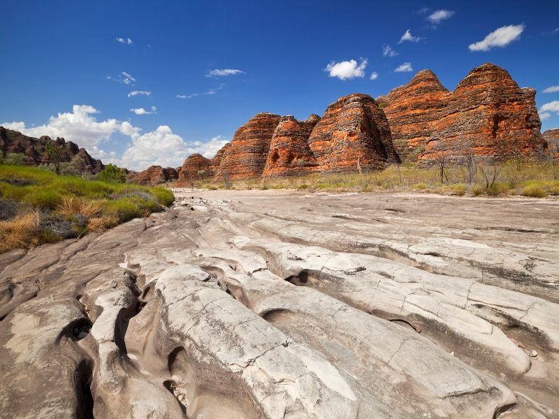 dry riverbed at piccaninny creek purnululu national park