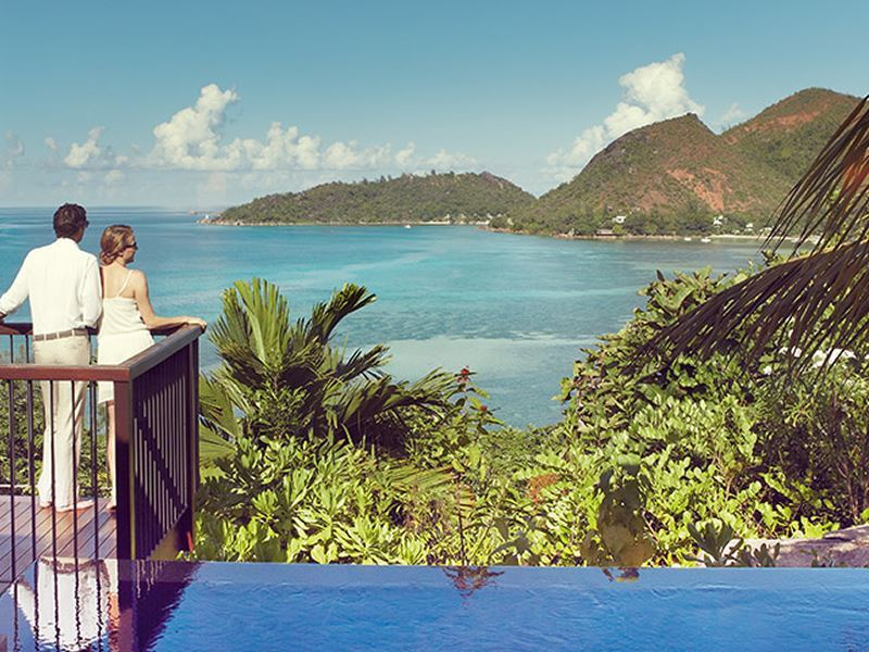Enjoying the views of Raffles Praslin Seychelles