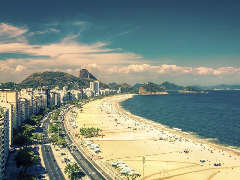 Famous Copacabana Beach in Rio de Janeiro, Brazil