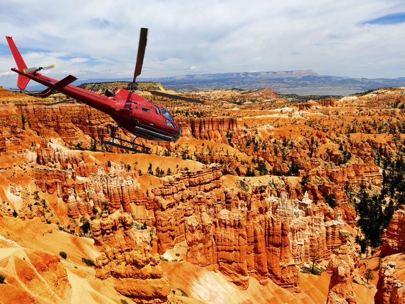 helicopter flying over bryce canyon national park