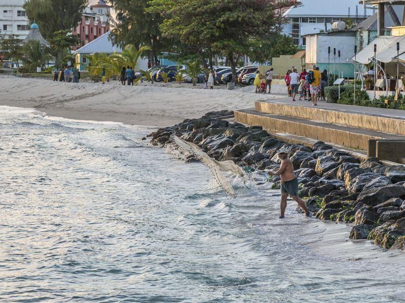 local fisherman casting his net off hastings rocks