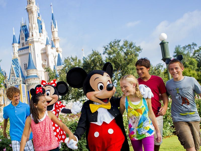 Minnie, Mickey and children at Disney's Magic Kingdom