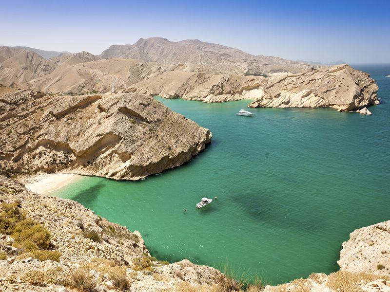 Green lagoon on Oman's coast