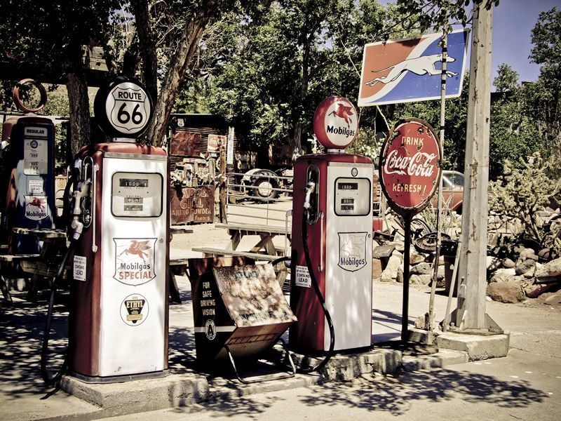 retro fuel pumps at route 66 hackberry arizona
