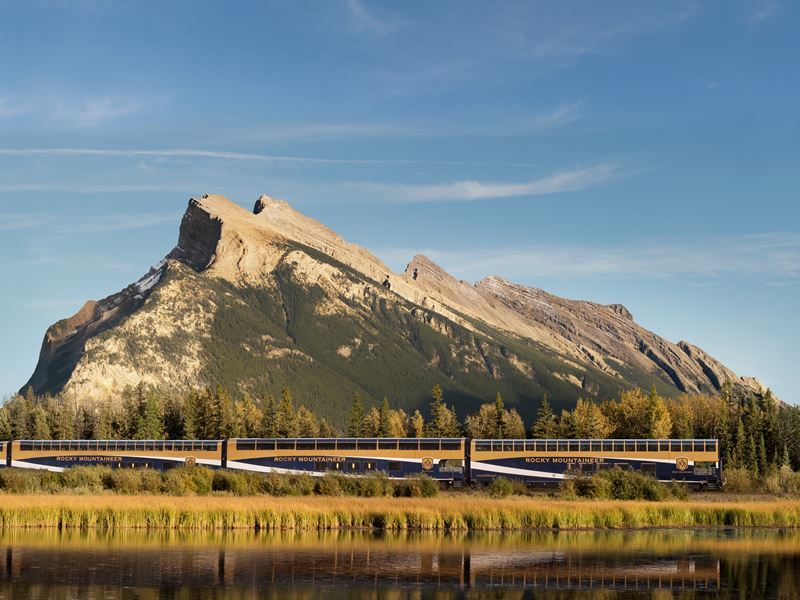 rocky mountaineer passing vermillion lakes near banff