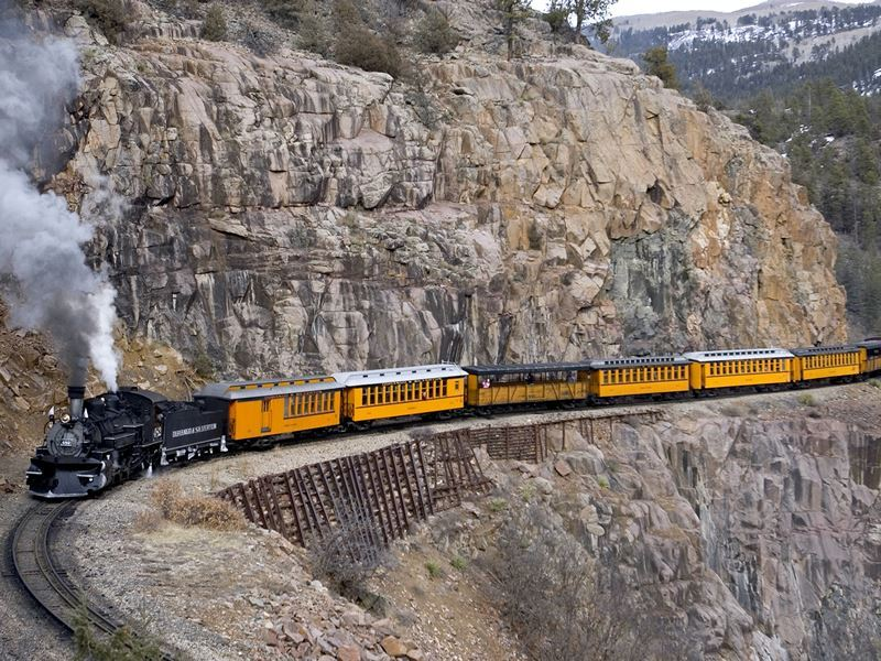 yellow passenger cars durango silverton narrow gauge railroad matt inden miles