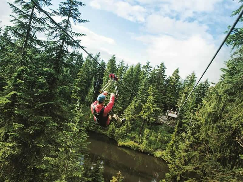 zip lining in grouse mountain