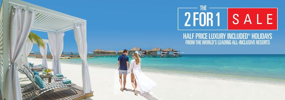 b6d25de4d8bc 2 for 1 Sandals and Beaches Offer - Tropical Sky