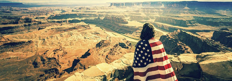 Woman wearing US flag at the Grand Canyon